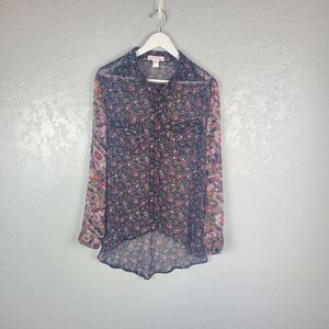 Band of Gypsies Sheer Floral Button Down Blouse